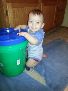 Look Ma, I can crawl to the bathroom from my room and pull myself on the diaper pail!
